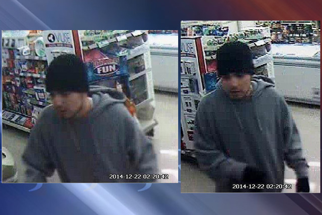 Police asked for the public's help Wednesday, Jan. 7, 2015, in finding a man they say robbed an east valley convenience store in December. (Courtesy Las Vegas Metropolitan Police Department)