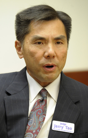 Jerome Teh-Yu Tao, candidate for District Court Judge, Dept. 20, speaks with the Review-Journal editorial board on Wednesday, May 14, 2014. Tao is one of three judges on the new Nevada Court of Ap ...