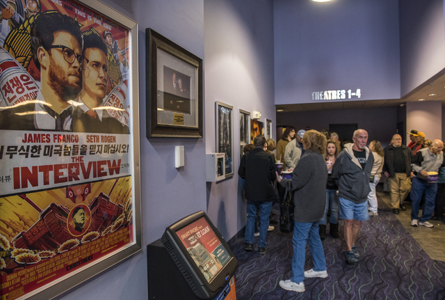 Moviegoers fall in line during the Christmas day release of the film The Interview inside the Megaplex 6 theatres in Mesquite, Nev., Thursday Dec. 25, 2014. (Martin S. Fuentes/Las Vegas Review-Jou ...