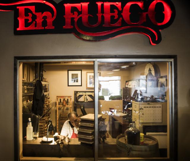 Antonyo Martinez, 45, makes cigars at  En Fuego Cigars & Lounge, 328 West Sahara Avenue,  on Wednesday, Jan. 28, 2015. Gov. Brian Sandoval is proposing to raise taxes on tobacco.(Jeff Scheid/Las V ...