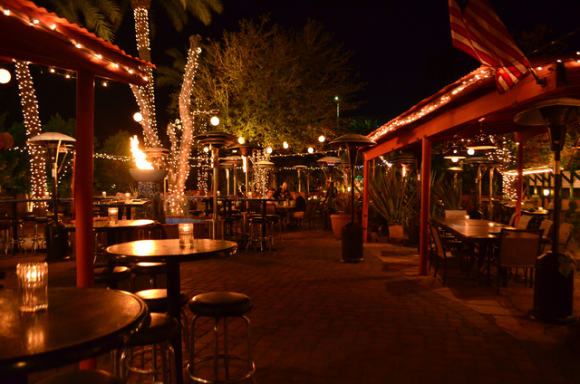 Twinkle lights adorn the patio of the Old Town Tortilla Factory, 6910 E. Main St., in Scottsdale, Ariz. (Ginger Meurer/Las Vegas Review-Journal)