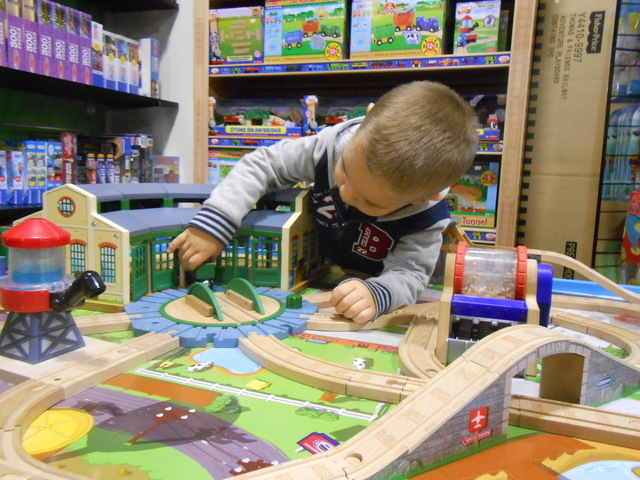 Mathew Romero, 3, plays with a Thomas the Tank Engine set Dec. 3, 2014, at The Toy Box, 1980 Festival Plaza, Suite 175, at Downtown Summerlin. The store has a table set up in a corner where kids c ...