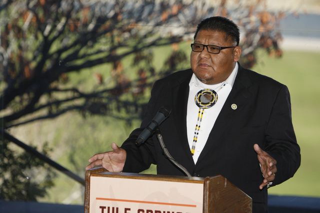 Benny Tso, chairman of the Las Vegas Paiute Tribe, speaks during an event to celebrate the passage of legislation by Congress that designates Tule Springs as Nevada's only national monument at t ...
