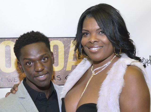 """Monica Ford, president of Nevada Partners, right, is shown with Jamari Edwards, one of the actors in """"Two Roads,"""" before a screening of the film at the Brenden Theater at the Palms hotel ..."""