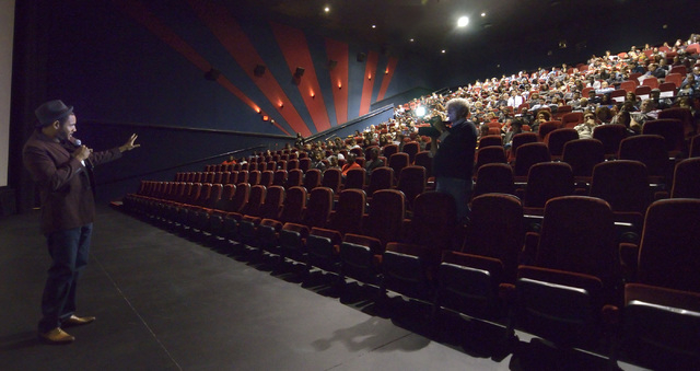 """Cameron Miller, a producer for Studio 11 Films, addresses the audience before screening """"Two Roads"""" at the Brenden Theater at the Palms hotel-casino at 4321 W. Flamingo Road in Las Vegas ..."""