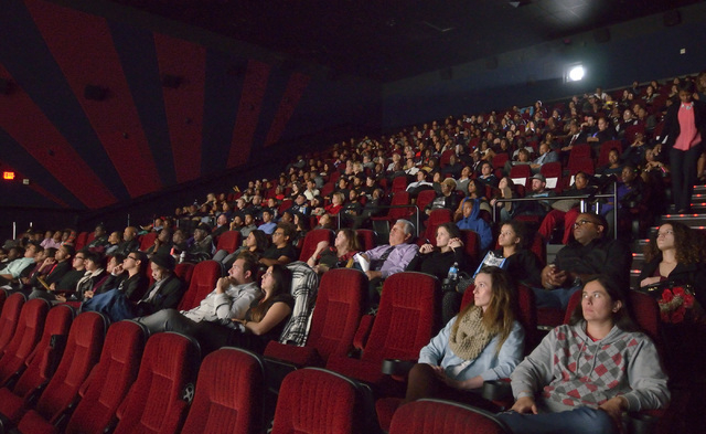 """The audience is shown at the screening of """"Two Roads"""" at the Brenden Theater at the Palms hotel-casino at 4321 W. Flamingo Road in Las Vegas on Wednesday, Dec. 17, 2014. Executives at St ..."""