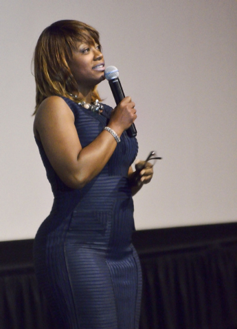 """Sharon Tomlinson, CEO and executive producer for Studio 11 Films, addresses the audience before a screening of """"Two Roads"""" at the Brenden Theater at the Palms hotel-casino at 4321 W. Fla ..."""