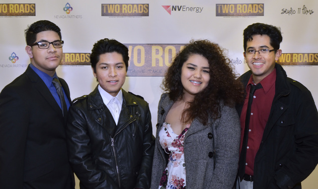 """Production assistants, from left, Jesus Hernandez, Christopher Ramirez, Estefany Gonzales and Austreberto Hernandez are shown before a screening of """"Two Roads"""" at the Brenden Theater at  ..."""