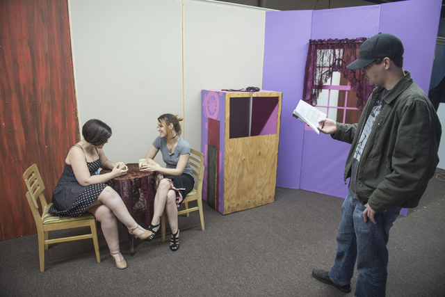 "Rebecca Kernes, who plays ""Louise"" and Anastasia Valentine, who plays ""Janet,"" rehearse ""Wally's Cafe"" at the Theatre in the Valley in Henderson on Saturday Jan 17, 2014 as director Shane Cullum l ..."