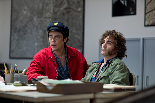 """Benicio Del Toro as Sauncho Smilax, Esq. and Joaquin Phoenix as Larry """"Doc"""" Sportello in Warner Bros. Pictures' and IAC Films' """"Inherent Vice,"""" a Warner Bros. Pictures release. (Courtesy)"""