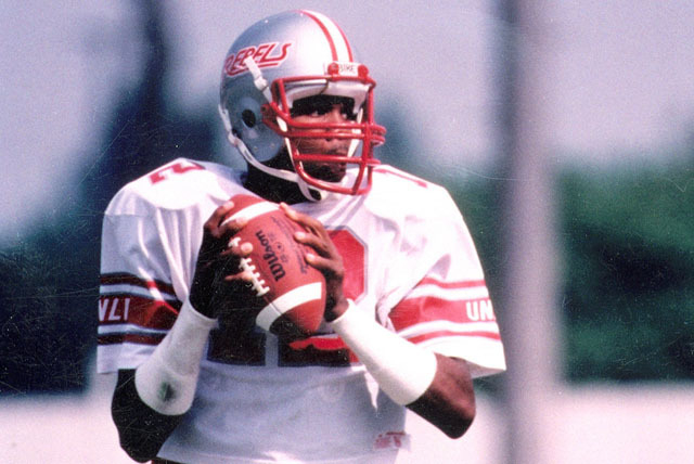 UNLV Rebels quarterback/punter Randall Cunningham (12) drops back to pass during a game in this undated file photo. Cunningham played at UNLV 1982-84 and was drafted in the 2nd round of the NFL dr ...