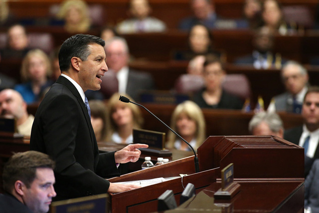 Gov. Brian Sandoval delivers his State of the State address at the Legislative Building in Carson City, Nev., on Thursday night, Jan. 15, 2015. (Cathleen Allison/Las Vegas Review-Journal)
