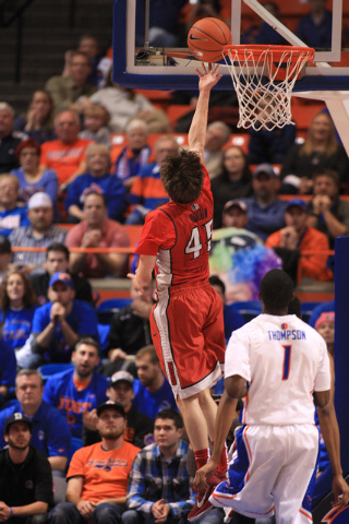 Jan 13, 2015; Boise, ID, USA;UNLV Rebels guard Cody Doolin (45) drives to the basket in first half action at Taco Bell Arena against the Boise State Broncos. Mandatory Credit: Brian Losness-USA TO ...