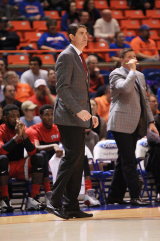 Jan 13, 2015; Boise, ID, USA; UNLV Rebels head coach Dave Rice in first half action at Taco Bell Arena against the Boise State Broncos. Mandatory Credit: Brian Losness-USA TODAY Sports
