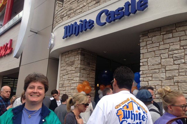 Linda Kitchel of Las Vegas, left, was first in line for White Castle opening on the Strip in Las Vegas on Tuesday, Jan. 27, 2015. (Alan Snel/Las Vegas Review-Journal)