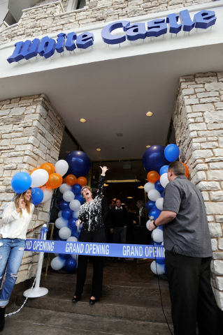 Clark County Commissioner Chris Giunchigliani, cheers before cutting a ceremonial ribbon at the grand opening of the White Castle's newest location on the Strip on Tuesday, Jan. 27, 2015. This is  ...
