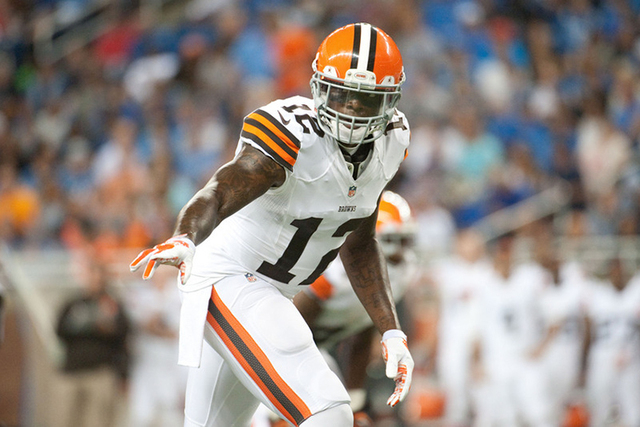 Cleveland Browns wide receiver Josh Gordon (12) during the first quarter against the Detroit Lions at Ford Field on Aug 9, 2014. (Tim Fuller-USA TODAY Sports)