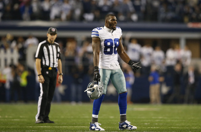 dallas cowboys wide receiver dez bryant reacts during the fourth quarter against the detroit lions in