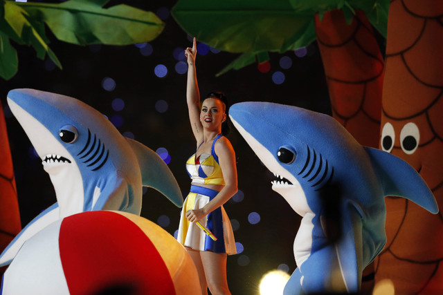 Recording artist Katy Perry performs during the half time show in Super Bowl XLIX at University of Phoenix Stadium. Las Vegan Austin Maul was inside a palm tree costume during Perry's performance. ...