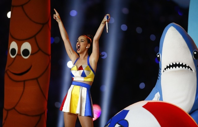 Recording artist Katy Perry performs at halftime in Super Bowl XLIX between the New England Patriots and the Seattle Seahawks at University of Phoenix Stadium. Las Vegan Austin Maul was inside a p ...