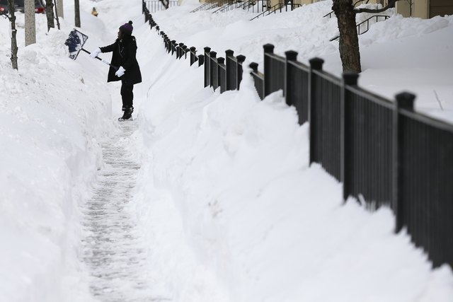 Laray Brison, who came out to help clear snow around busy school routes at the request of the activist group Black Lives Matter Boston, shovels a sidewalk on Humbolt Ave in Boston, Massachusetts F ...