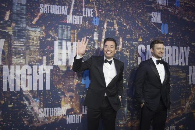 Television host Jimmy Fallon (L) and singer Justin Timberlake arrive for the 40th Anniversary Saturday Night Live (SNL) broadcast in the Manhattan Borough of New York February 15, 2015. (REUTERS/C ...