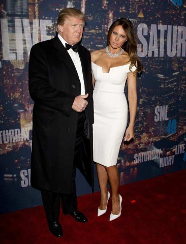 Businessman Donald Trump and wife Melania Trump arrive for the 40th Anniversary Saturday Night Live (SNL) broadcast in the Manhattan Borough of New York February 15, 2015. (REUTERS/Carlo Allegri)