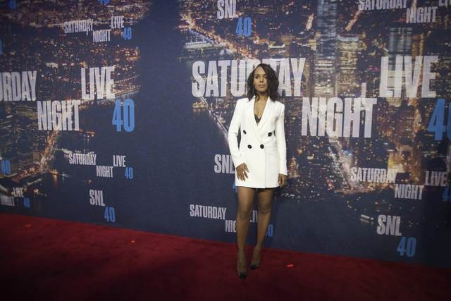 Actress Kerry Washington arrives for the 40th Anniversary Saturday Night Live (SNL) broadcast in the Manhattan Borough of New York February 15, 2015. (REUTERS/Carlo Allegri)