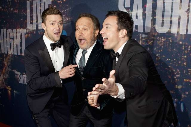 Singer Justin Timberlake (L), actor Billy Crystal and TV host Jimmy Fallon (R) arrive for the 40th Anniversary Saturday Night Live (SNL) broadcast in the Manhattan borough of New York February 15, ...