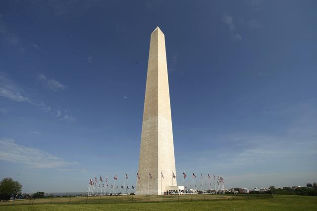 Free from its scaffolding, the Washington Monument is re-opened to the public, in this file photo taken May 12, 2014.  The Washington Monument, one of the landmarks of the U.S. capital, is officia ...