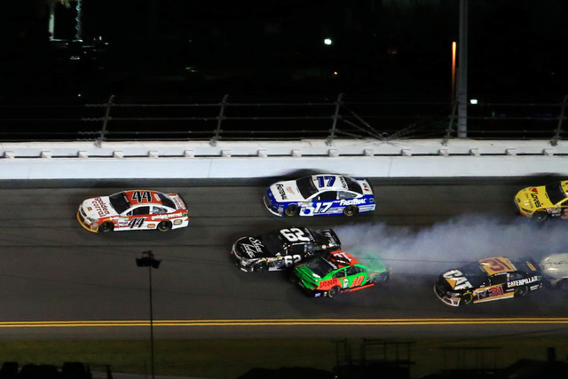 Feb 19, 2015; Daytona Beach, FL, USA; NASCAR Sprint Cup Series driver Danica Patrick (10) wrecks during race two of the Budweiser Duels at Daytona International Speedway. (Andrew Weber-USA TODAY S ...