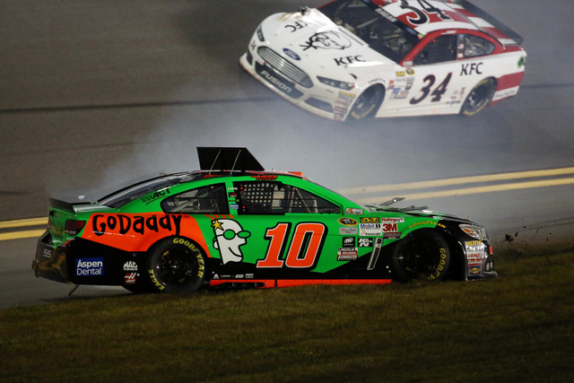 Feb 19, 2015; Daytona Beach, FL, USA; NASCAR Sprint Cup Series driver Danica Patrick (10) wrecks during race two of the Budweiser Duels at Daytona International Speedway. (Mike DiNovo-USA TODAY Sp ...