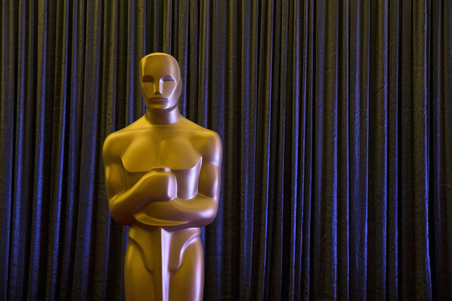 An Oscar statue stands in front of a curtain during a press event for Foreign Language Film Award nominees leading up to the 87th Academy Awards in Hollywood, California, Feb. 20, 2015. The Oscars ...