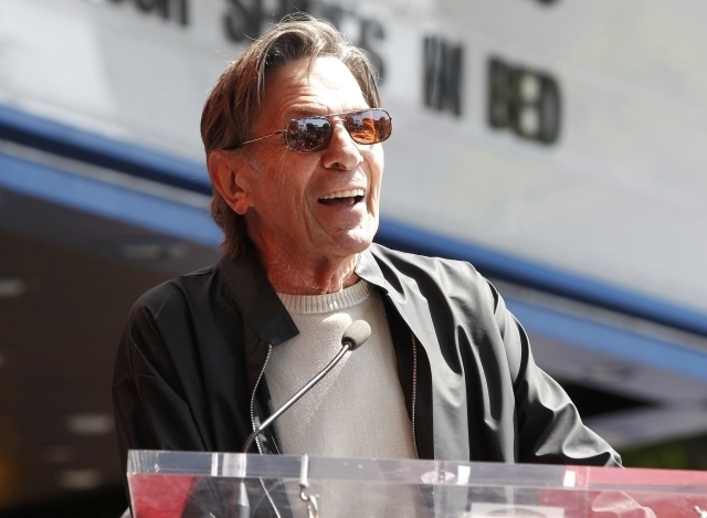 """""""Star Trek"""" television series actor Leonard Nimoy speaks at the unveiling of fellow """"Star Trek"""" actor Walter Koenig's star on the Hollywood Walk of Fame in Hollywood, Sept. 10, 2012. Nimoy, the ac ..."""