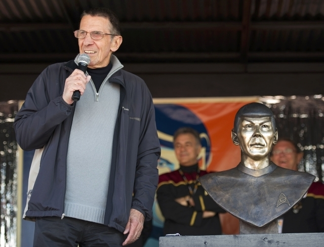 """Actor Leonard Nimoy, who played Spock in the original """"Star Trek"""" television and movie series, speaks to the residents of the town of Vulcan, Alberta, April 23, 2010. Nimoy died Friday, Feb. 27, 2 ..."""