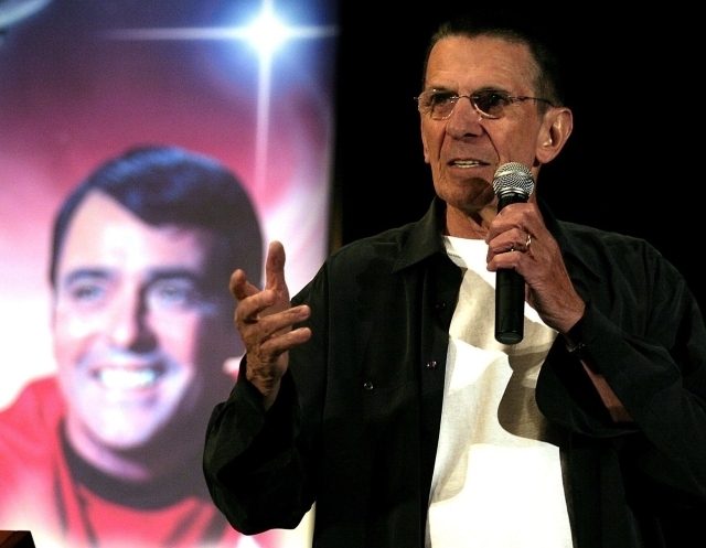 """Leonard Nimoy, who played Spock in the """"Star Trek"""" television series, speaks at the """"Beam Me Up Scotty ... One More Time: The James Doohan Farewell Star Trek Convention & Tribute"""" in Hollywood, Ca ..."""