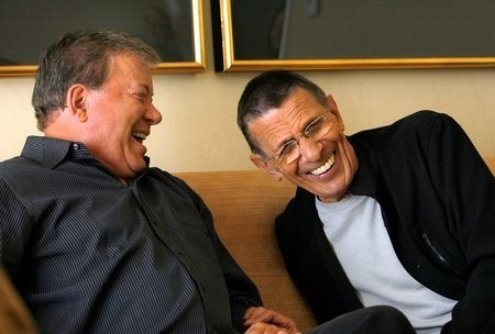 """Actors William Shatner, left, and Leonard Nimoy laugh during an interview for the 40th anniversary of the science-fiction television series """"Star Trek"""" in Los Angeles, Aug. 9, 2006. (Reuters/Mario ..."""