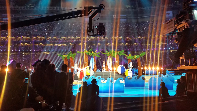 Austin Maul was inside the second palm tree costume from the left during Katy Perry's performance at halftime of the Super Bowl. (Courtesy)