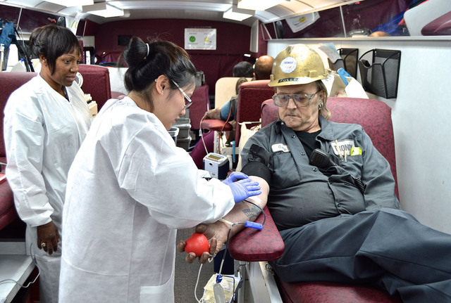 Employees at Tronox, 560 W. Lake Mead Parkway, donated 20 units of blood Feb. 4 to United Blood Services during a companywide blood drive. Pictured is Tronox employee Gary Fuller donating blood. ( ...