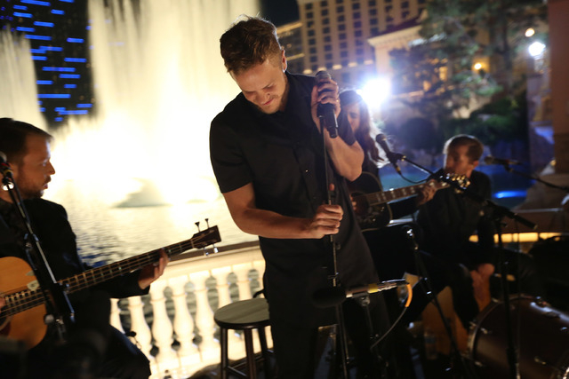 "Bassist Ben McKee, singer/drummer Dan Reynolds, guitarist Wayne Sermon and drummer Daniel Platzman of Imagine Dragons perform for Crackle's Original Concert Series ""Playing It Forward"" at the Bell ..."