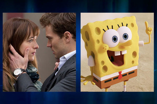 """A movie theater in Colorado mistakenly started showing the R-rated """"50 Shades of Grey,"""" left, in a theater full of families waiting to see """"The SpongeBob Movie: Sponge Out of Water."""" (Courtesy)"""