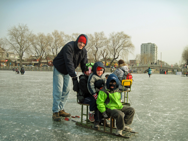 Olivia Meikle's family enjoying chair skating at Houhai Lake.