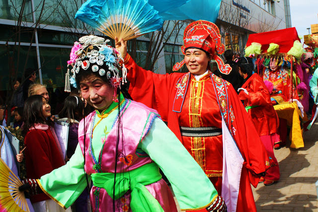 Dancers at a temple fair in Beijing.