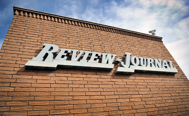 The front entrance at the Las Vegas Review-Journal is seen on Thursday, Feb. 19, 2015. Stephens Media, LLC, owner of the Review-Journal, reached an agreement to sell their holdings to New Media In ...
