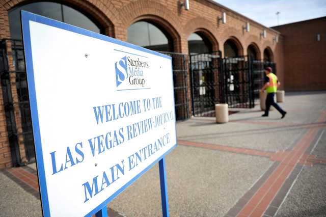 The front entrance at the Las Vegas Review-Journal is seen in on Thursday, Feb. 19, 2015. Stephens Media, LLC, owner of the Review-Journal, reached an agreement to sell their holdings to New Media ...