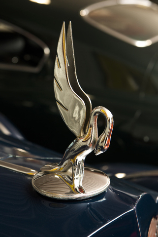 A hood ornament on a 1937 Packard Twelve Limousine is seen Tuesday, Feb. 3, 2015 at the Rogers' Classic Car Museum, 1480 Gragson Avenue. (Jeff Scheid/Las Vegas Review-Journal)