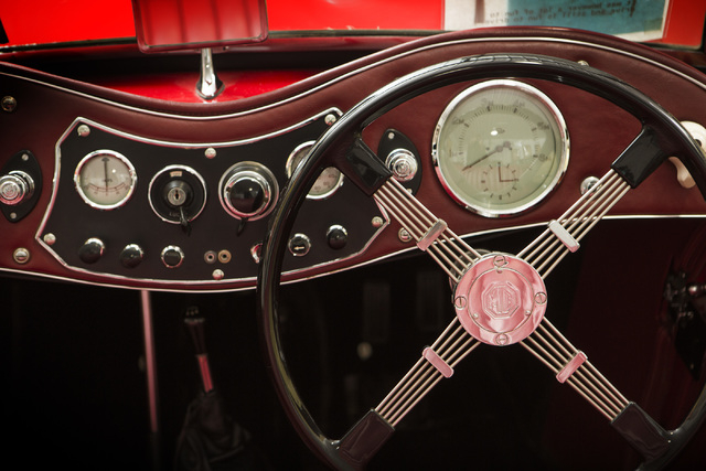 The interior of a 1948 MG TC Roadster  is seen Tuesday, Feb. 3, 2015 at the Rogers' Classic Car Museum, 1480 Gragson Avenue. (Jeff Scheid/Las Vegas Review-Journal)