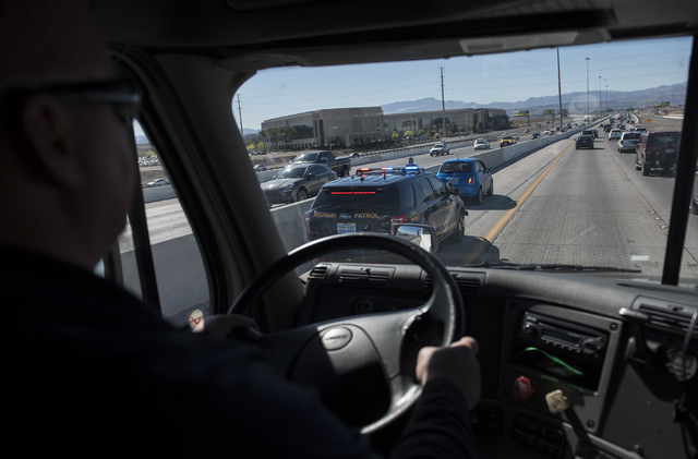 Commercial Vehical Safety Inspector Travis Perkins drives an 18-wheel truck for the Nevada Highway Patrol during the Badge on Board program launched by the Nevada Department of Public Safety in La ...