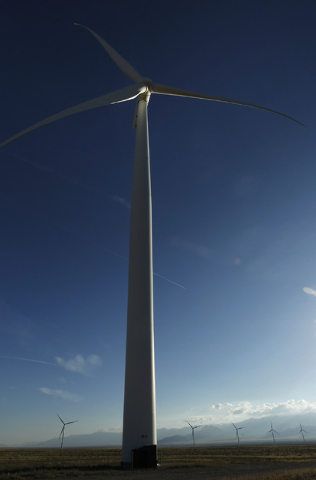 A turbine tower as tall as the Palms reaches into the sky at the Spring Valley Wind Energy facility near Great Basin National Park in eastern Nevada on Aug. 14, 2014. The wind farm is facing renew ...