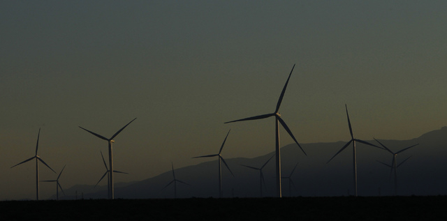 The Spring Valley Wind Energy facility as seen near Great Basin National Park in eastern Nevada on Aug. 14, 2014. The wind farm is facing renewed scrutiny after the death of a second, federally pr ...